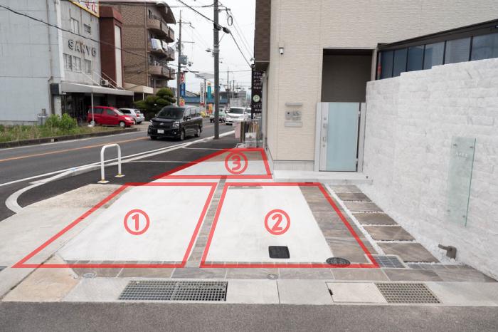 駐車場は店舗横に2つ(1)(2)、一杯の場合は店舗正面の歩道部分(3)に駐車下さい